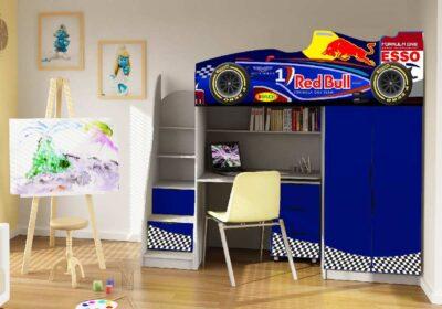 ліжко горище зі столом формула 1 синій