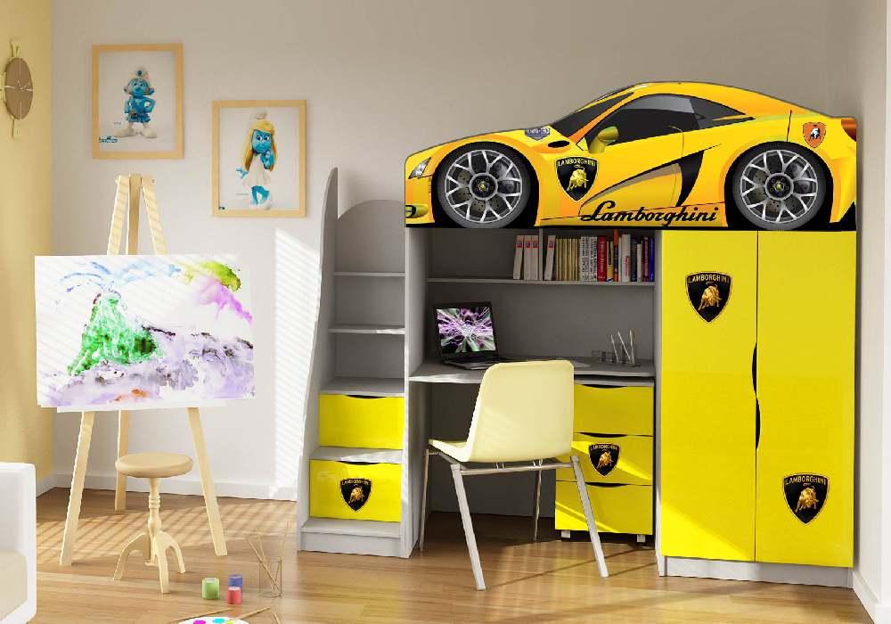 кровать чердак со столом ламбо желтый