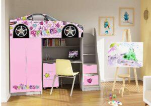 кровать комната со столом принцессы розовая