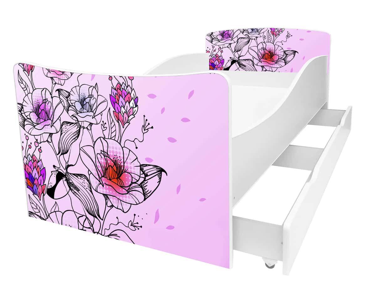 детская кровать киндер цветочная