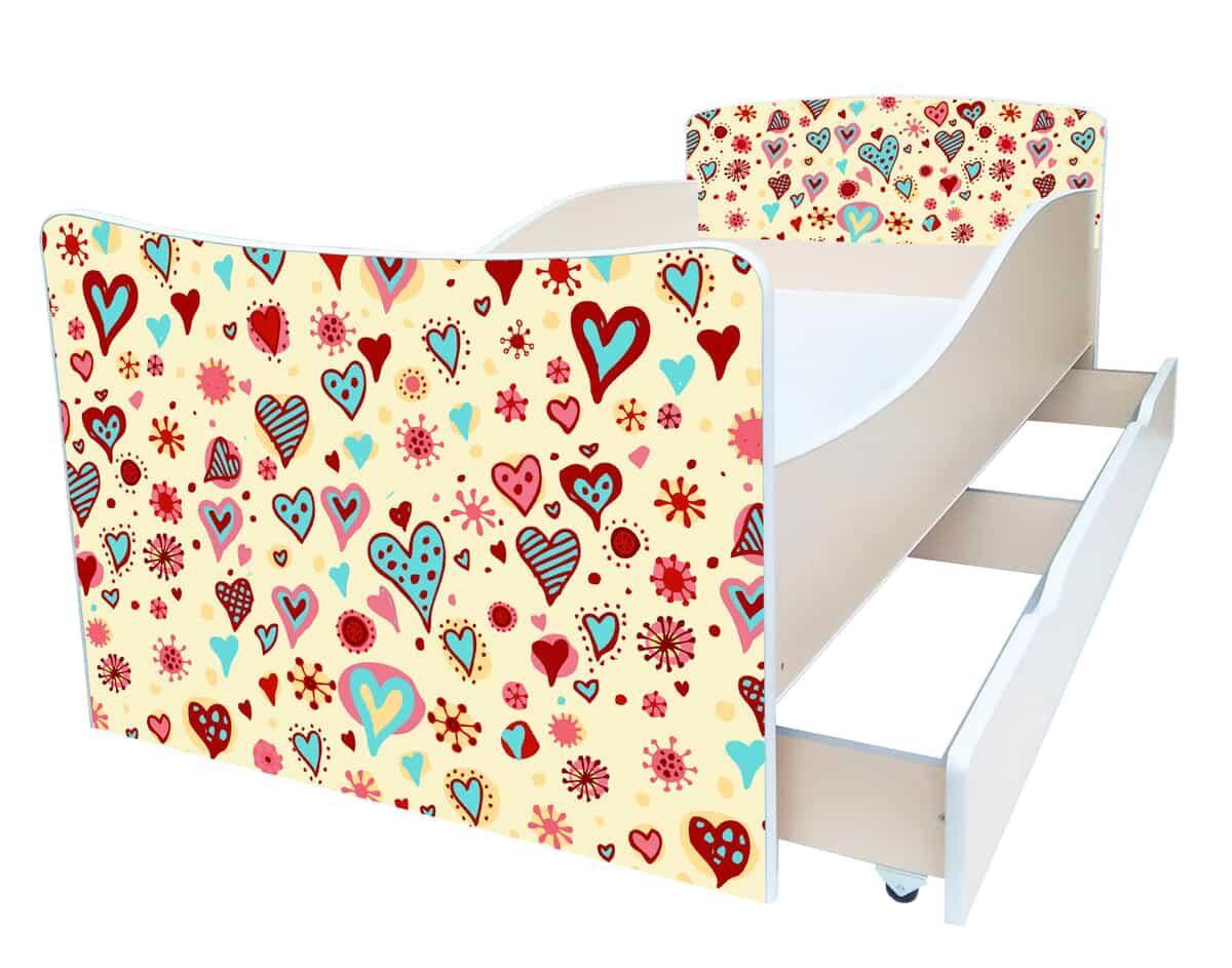 кровать киндер детская сердца