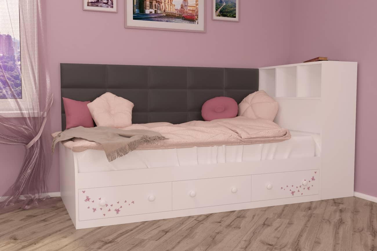 подростковая кровать бело коричневая