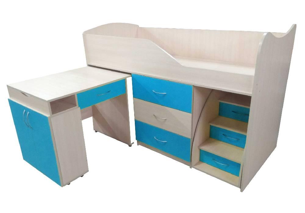 кровать комната трансформер со столом голубая