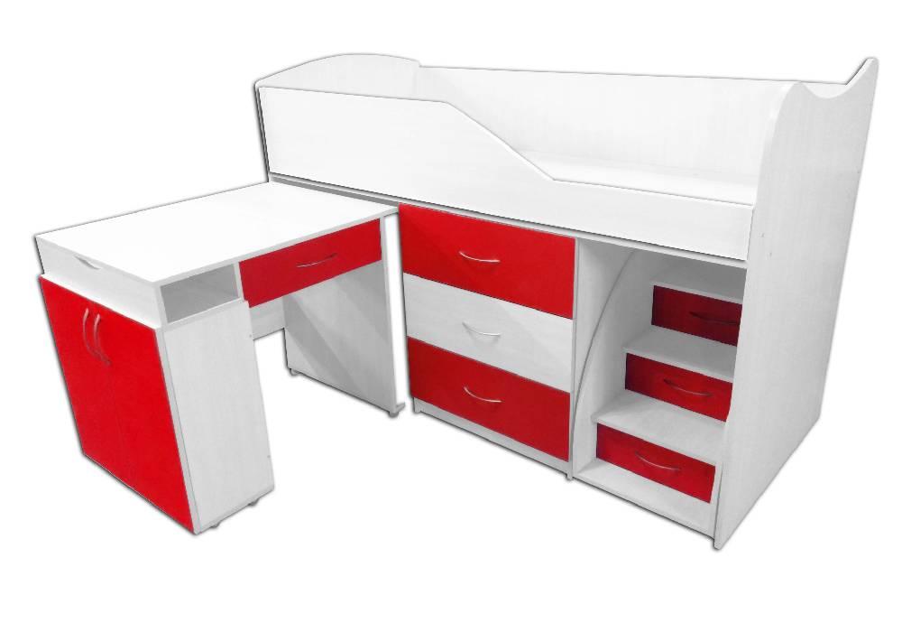 кровать комната трансформер со столом красная