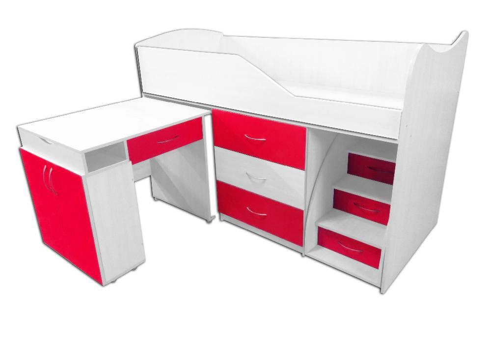 кровать комната трансформер со столом малиновая