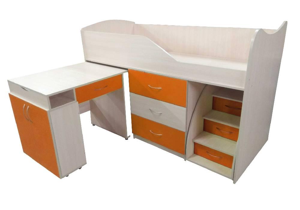 кровать комната трансформер со столом оранжевая