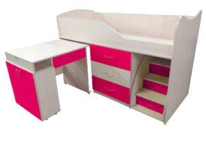 кровать комната трансформер со столом розовая