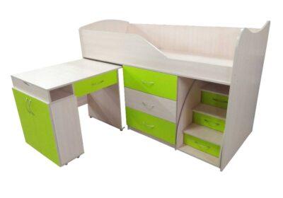 ліжко кімната трансформер зі столом салатова