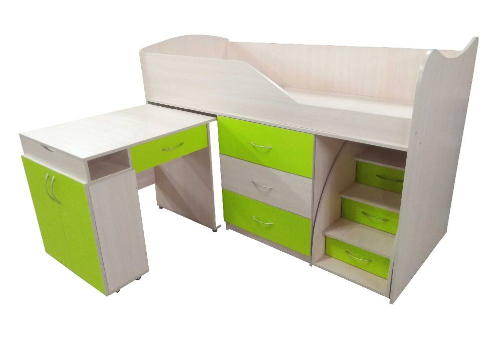 кровать комната трансформер со столом салатовая