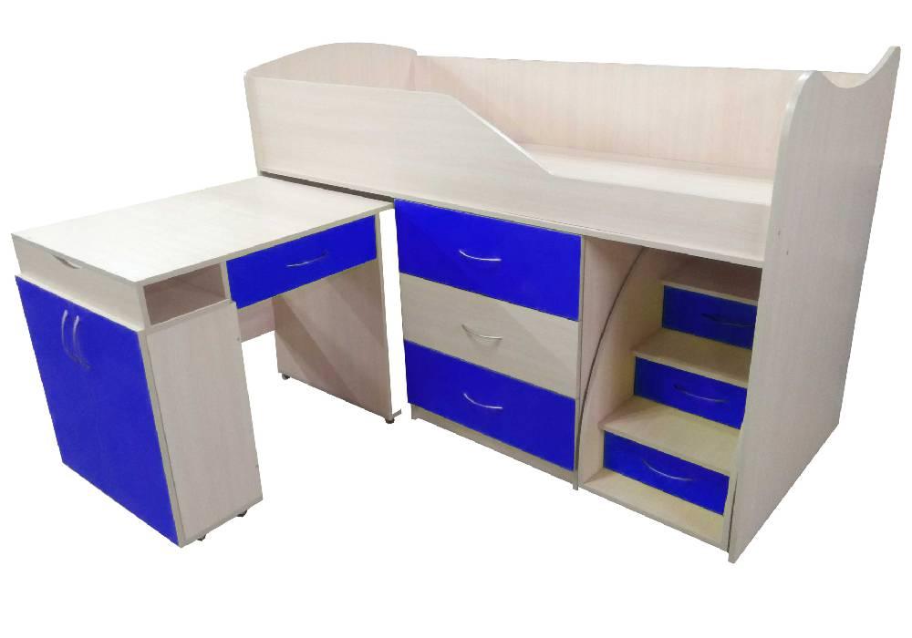кровать комната трансформер со столом синяя