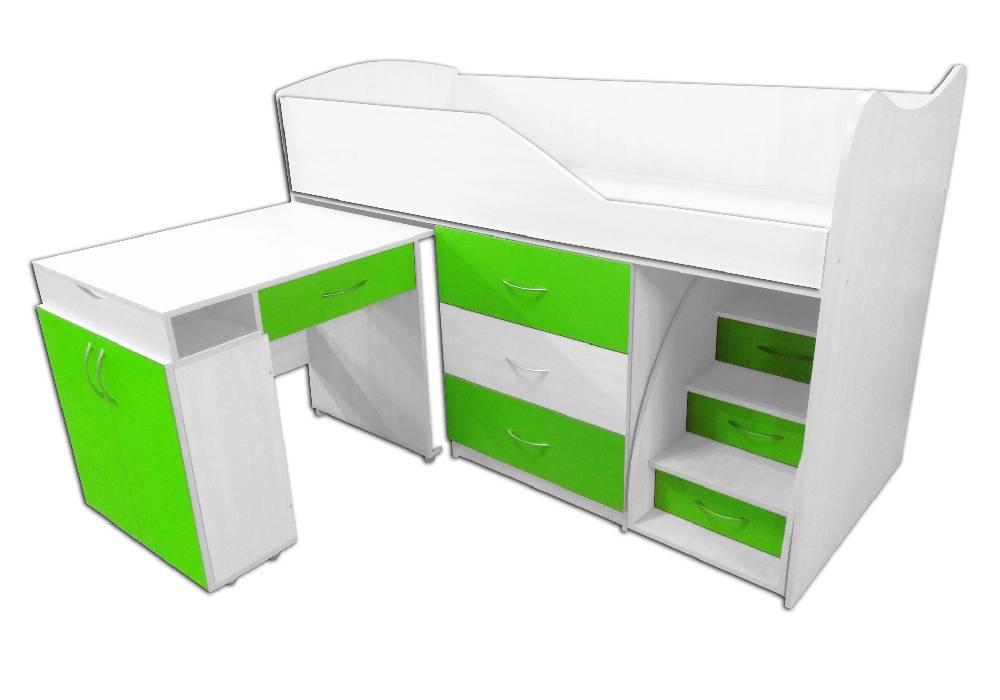 кровать комната трансформер со столом зеленая