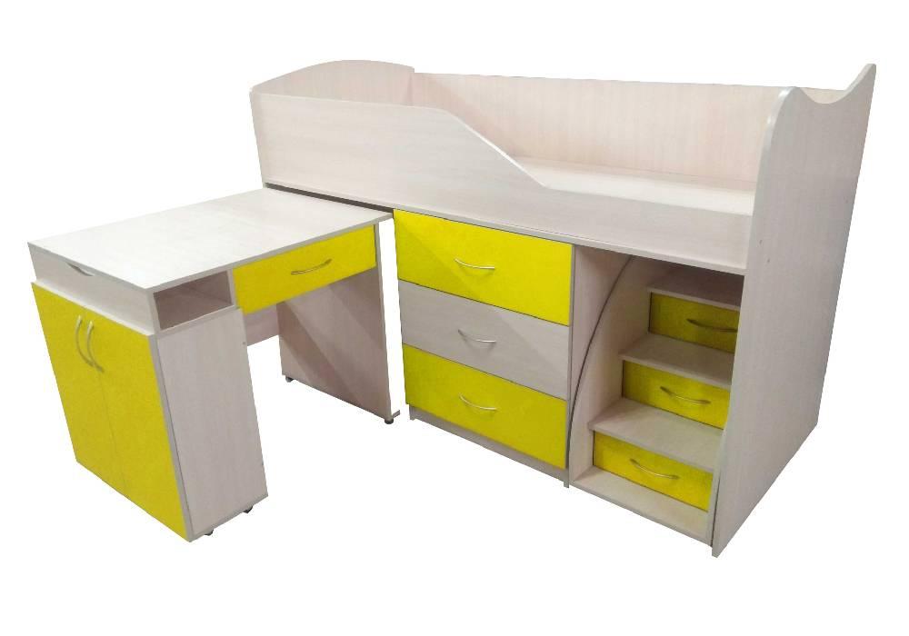 кровать комната трансформер со столом желтая