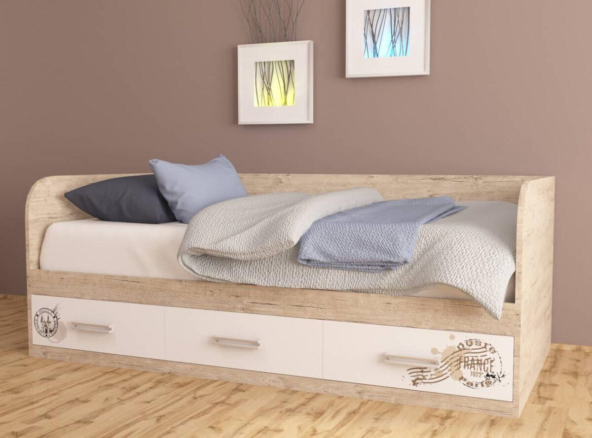 кровать дуб подростковая шервуд белый