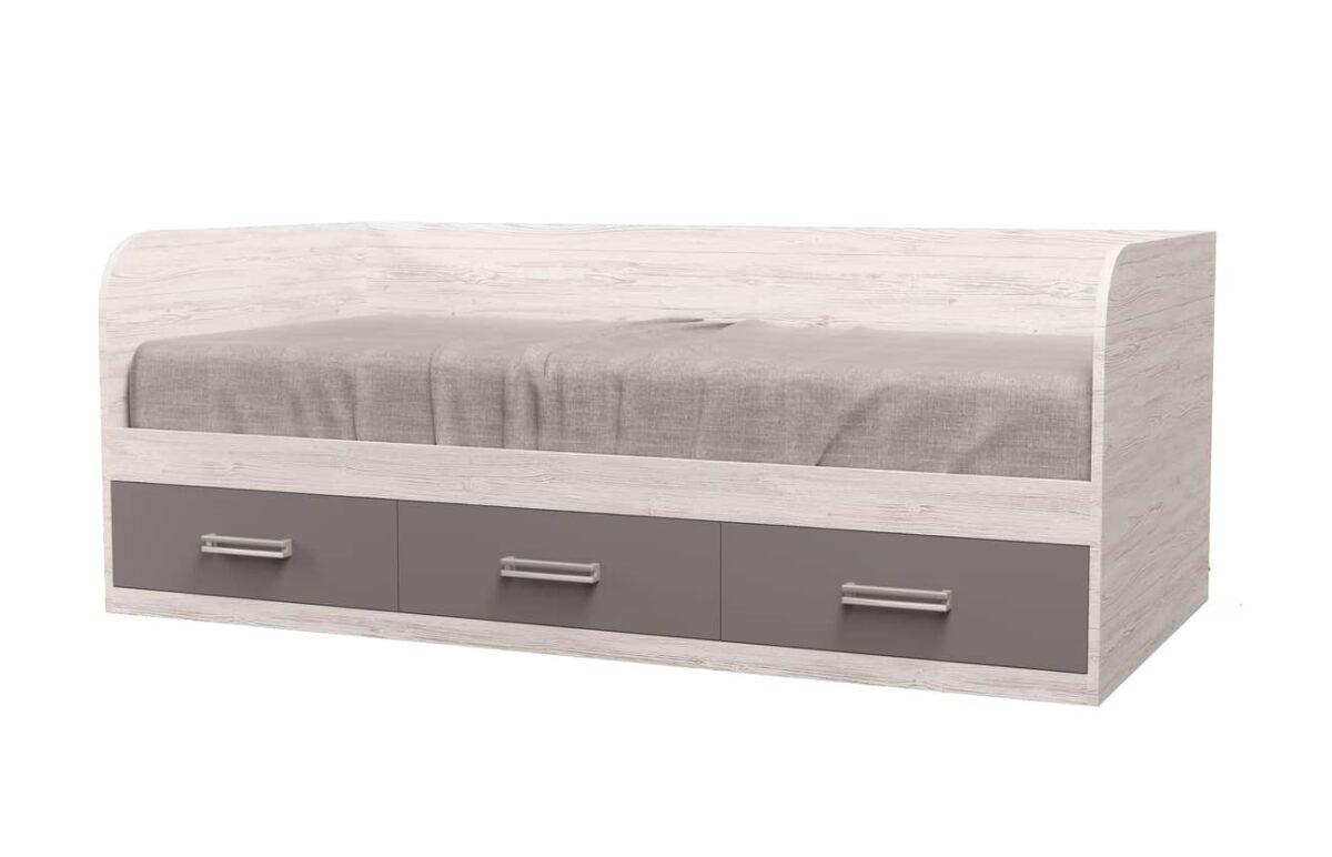 кровать с 3 ящиками аляска антрацит