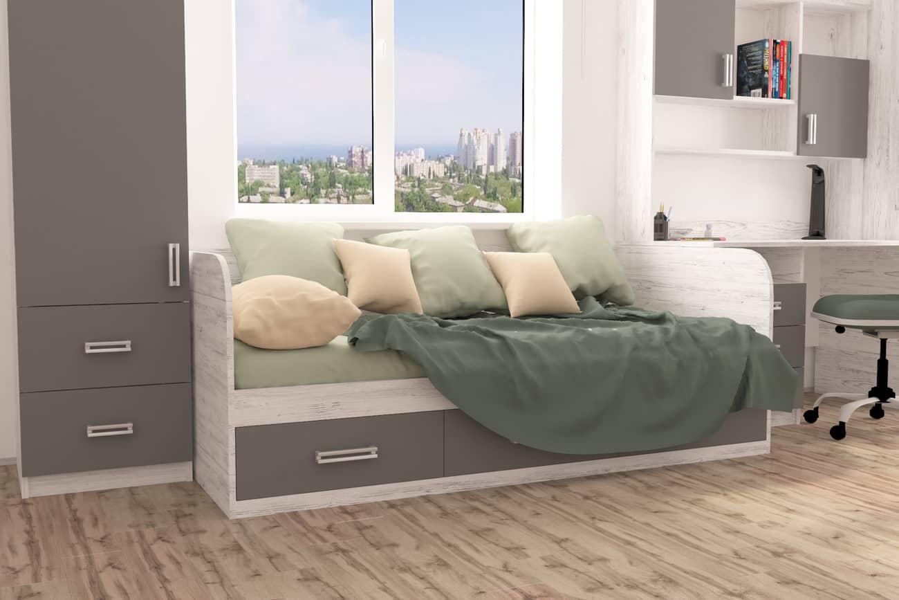 подростковая кровать в интерьере антрацит