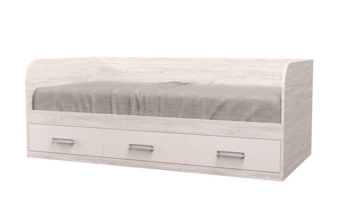 кровать с 3 ящиками аляска белая
