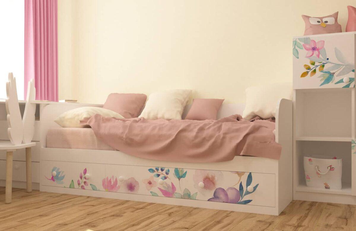 кровать с 3 ящиками цветы