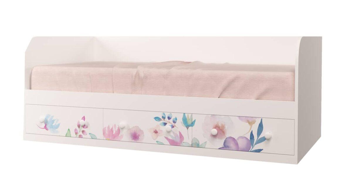 кровать цветы на 3 ящика