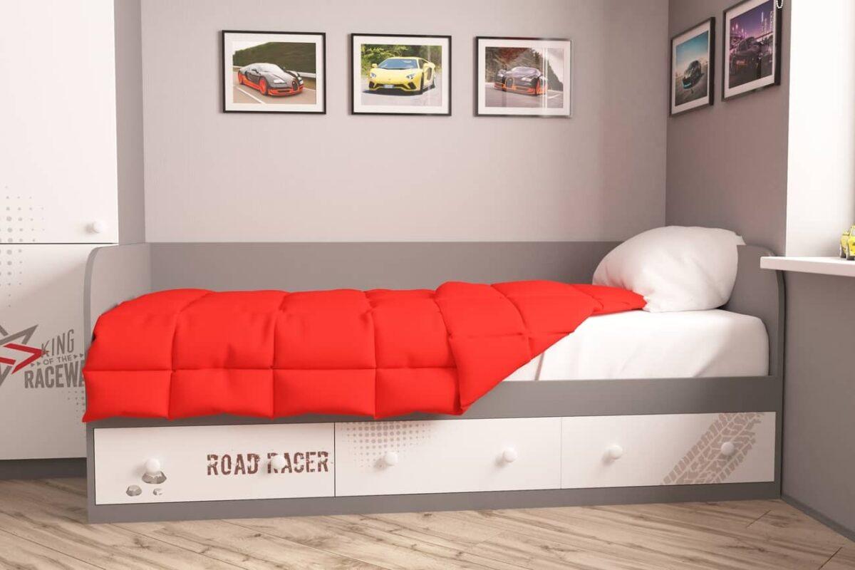 подростковая серая кровать гонщик серый