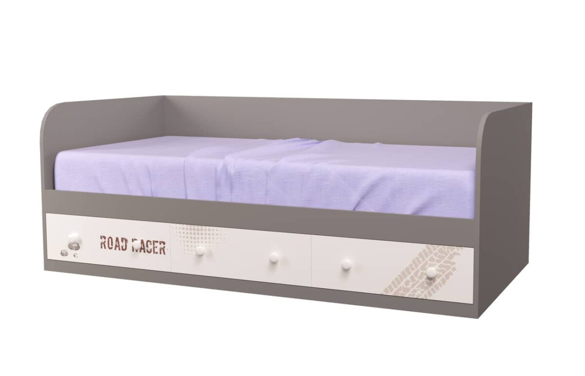кровать подростковая с 3 ящиками серый гонщик