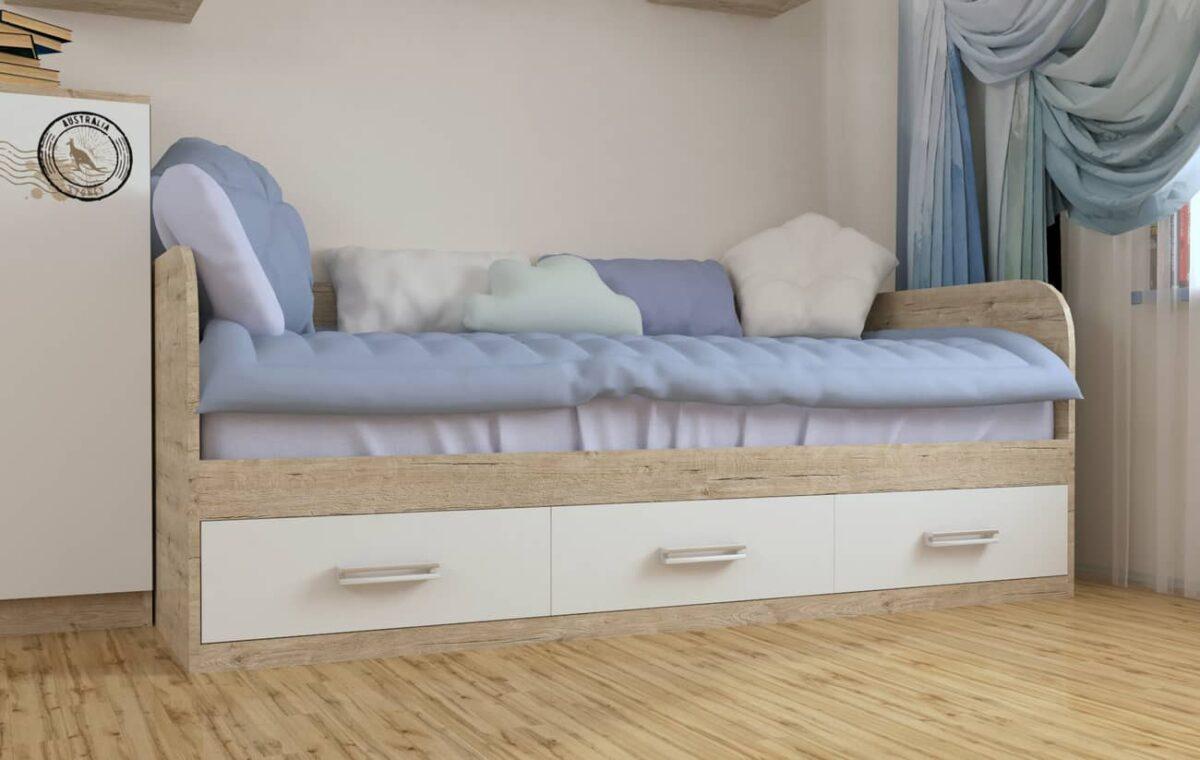 кровать с 3 ящиками шервуд белый в комнате