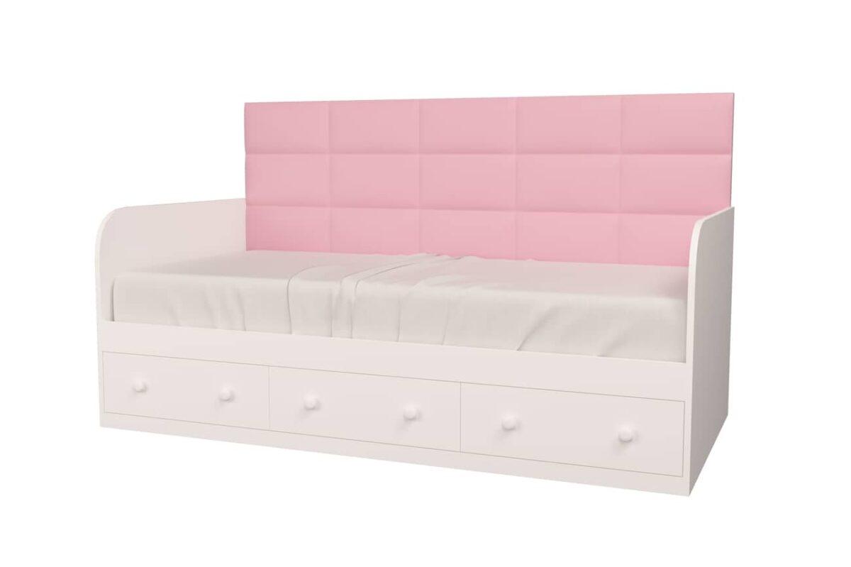 кровать для девочки с розовой мягкой спинкой
