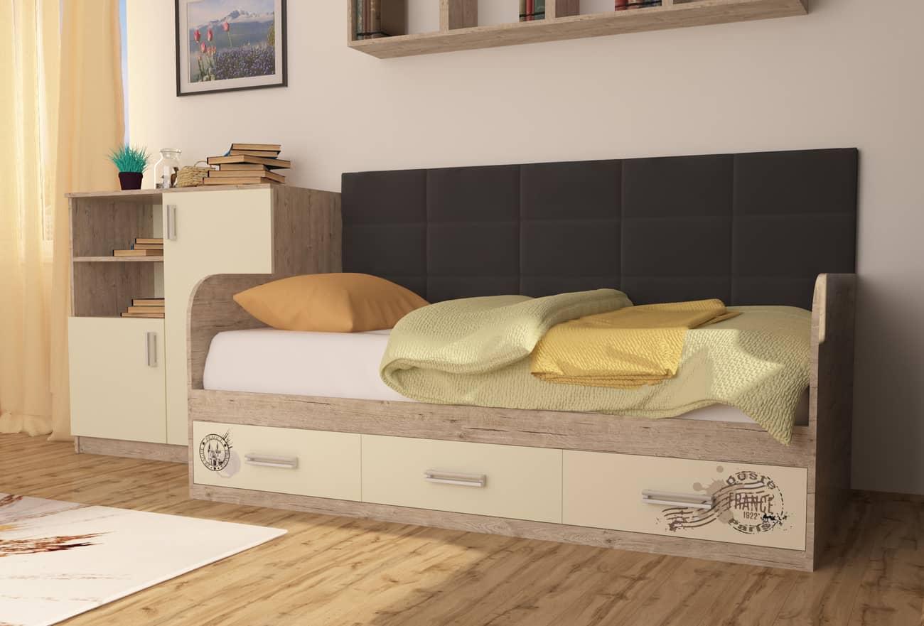 кровать с мягкой спинкой коричневая