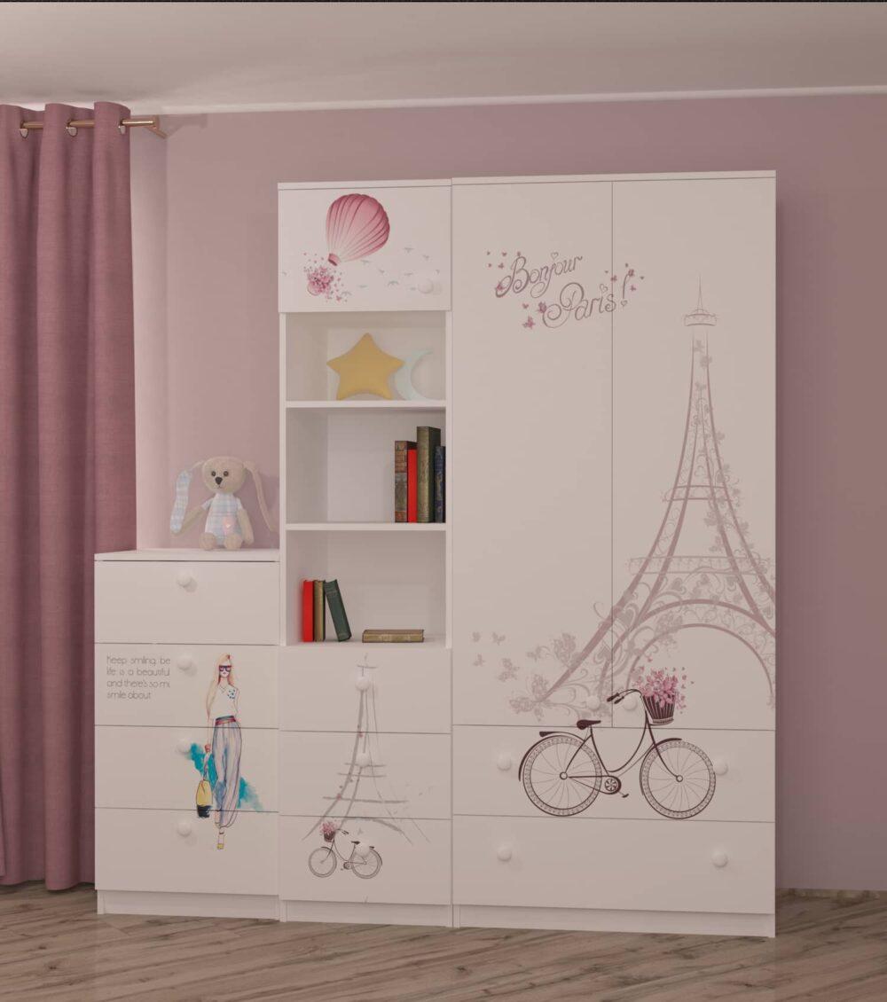 детский шкаф в комнате для девочки