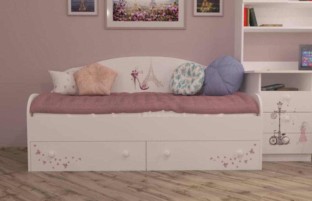 кровать диванчик с ящиками париж