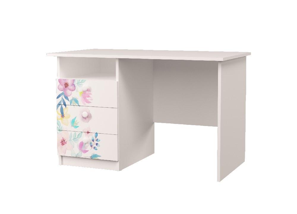 стол с полкой и ящиками цветы