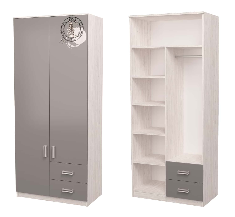 шкаф с полками и штангой серый