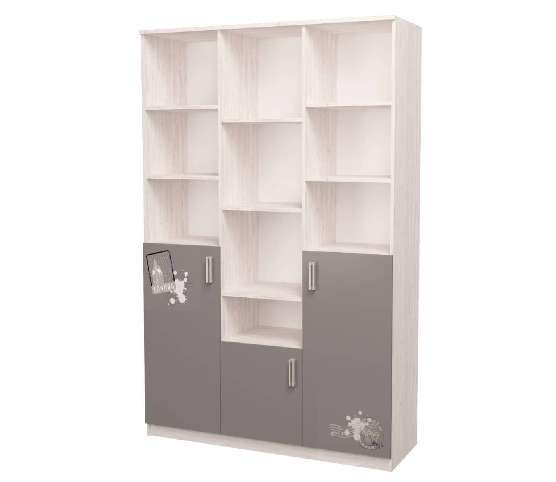 шкаф с полками трехсекционный аляска антрацит