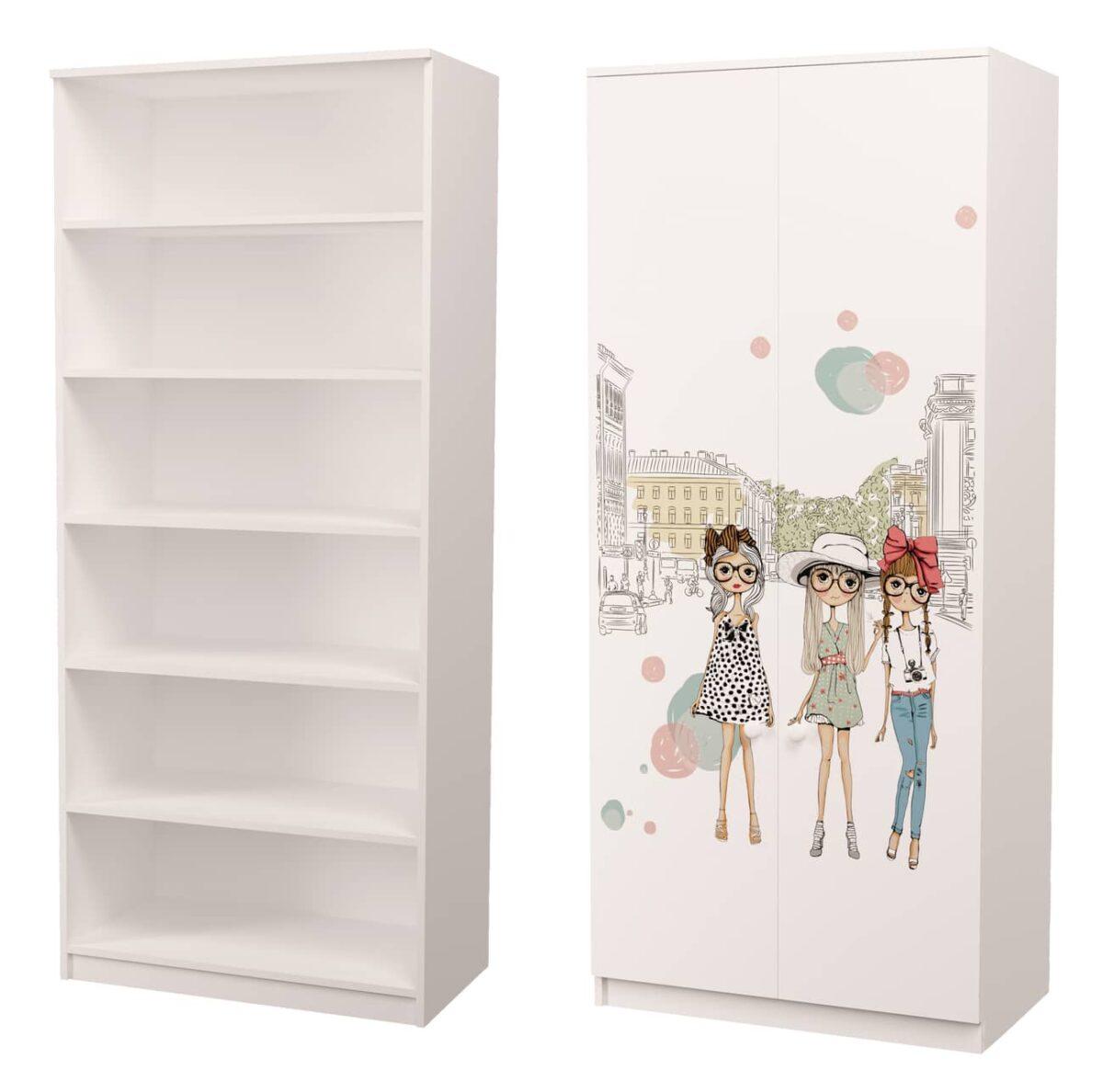 шкаф с рисунком гламур и полками