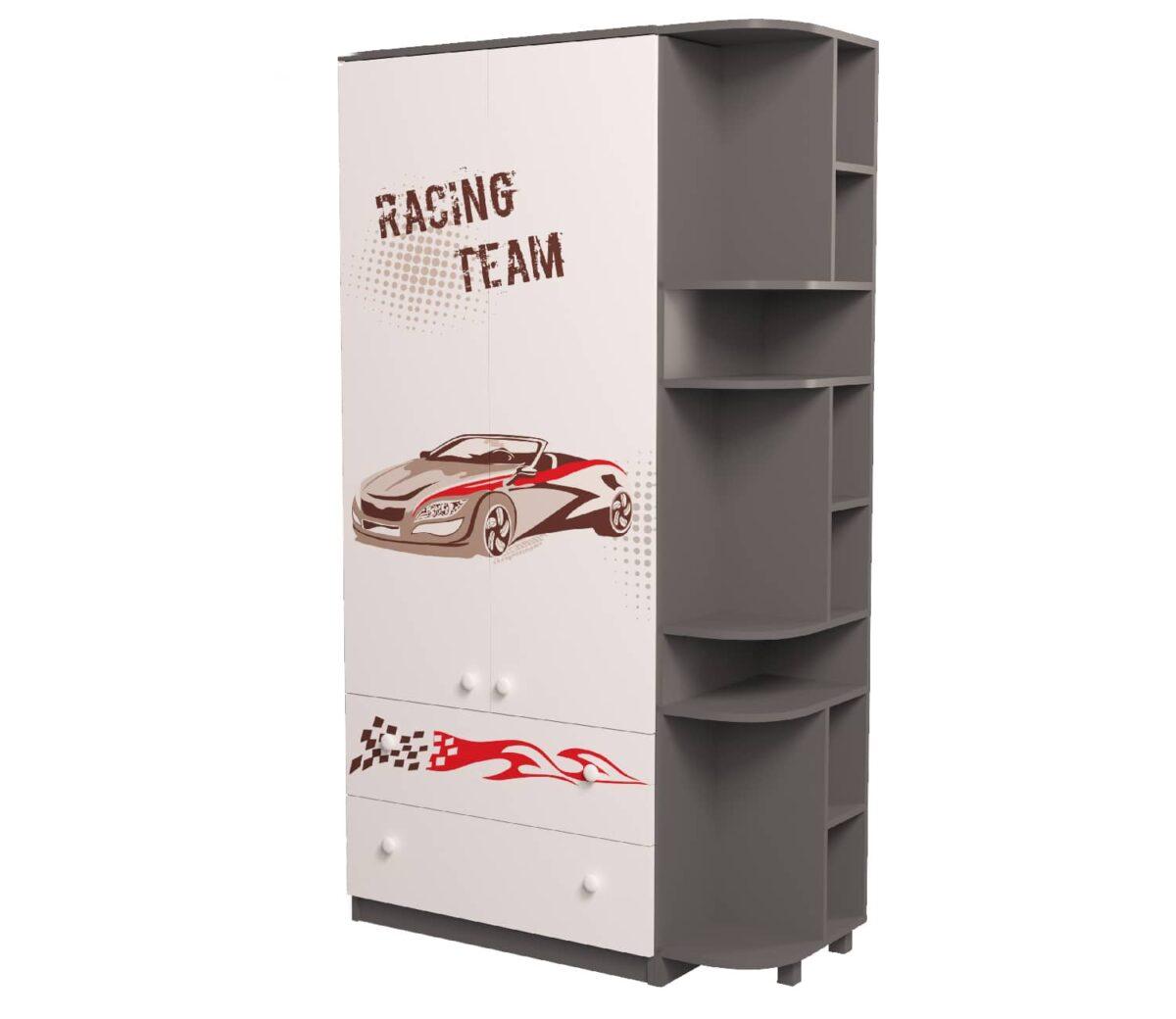 шкаф серый с эркером гонщик
