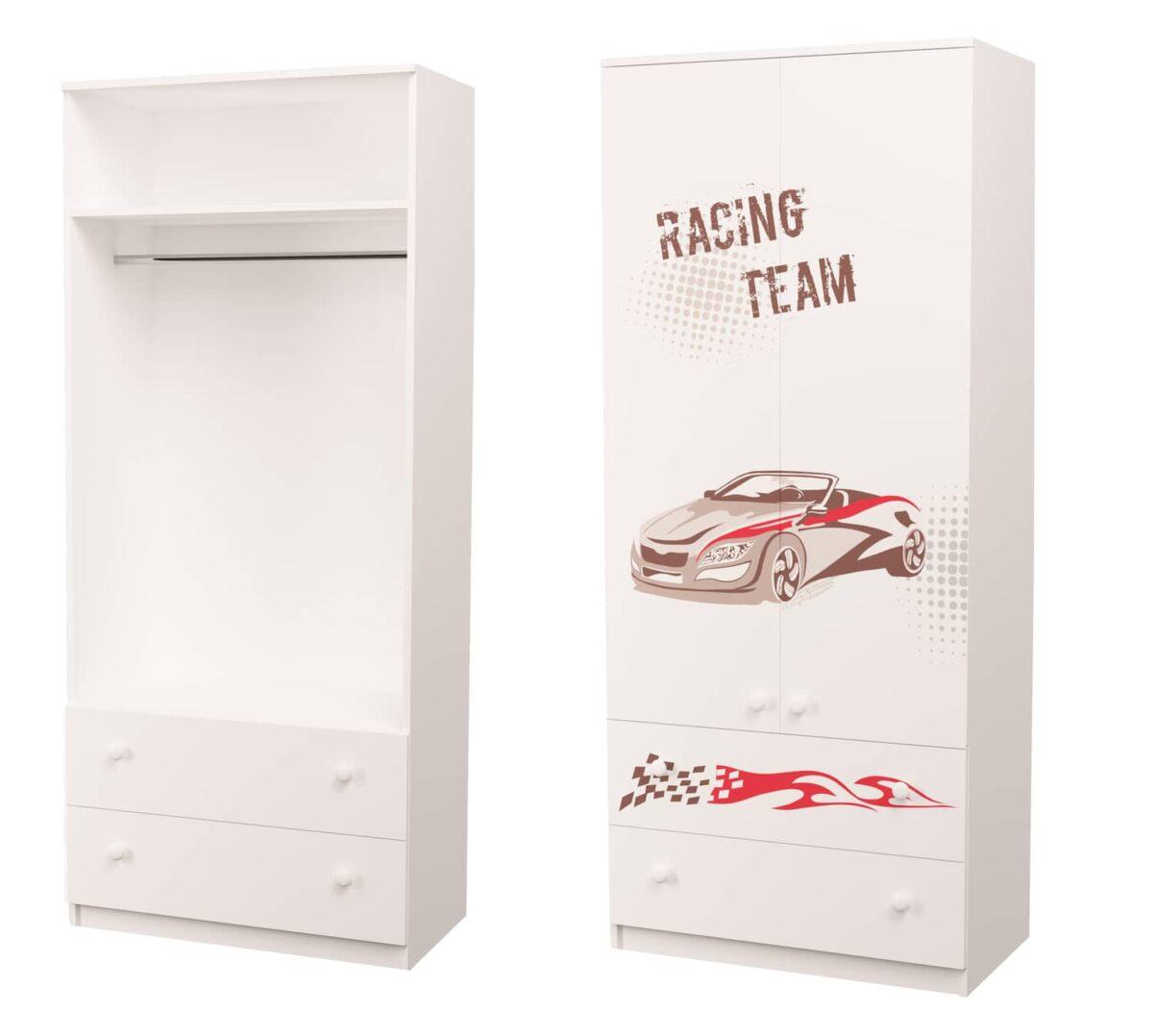 шкаф в детскую для мальчика гонщик