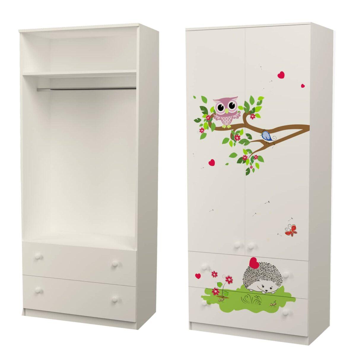 шкаф с трубой и ящиками совушки