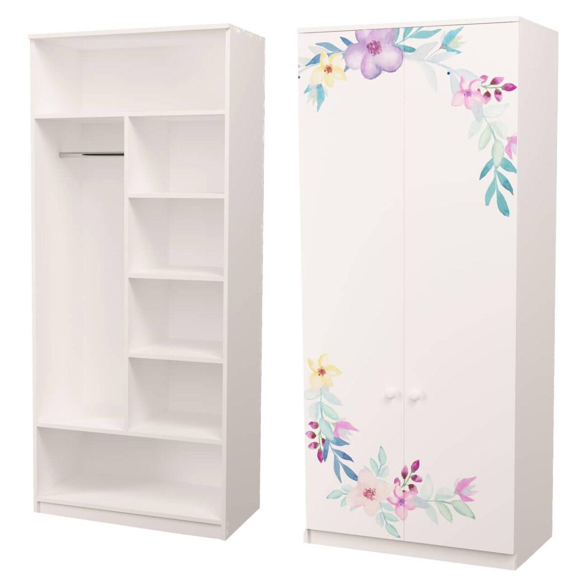 шкаф с трубой и полками цветы