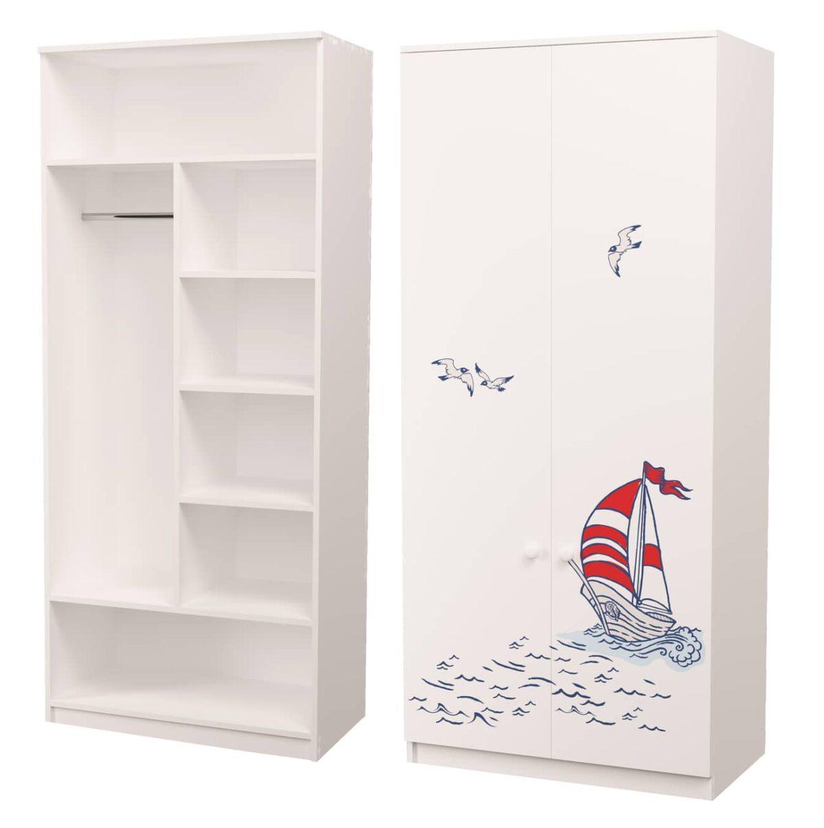 шкаф комбинированный с рисунком кораблик