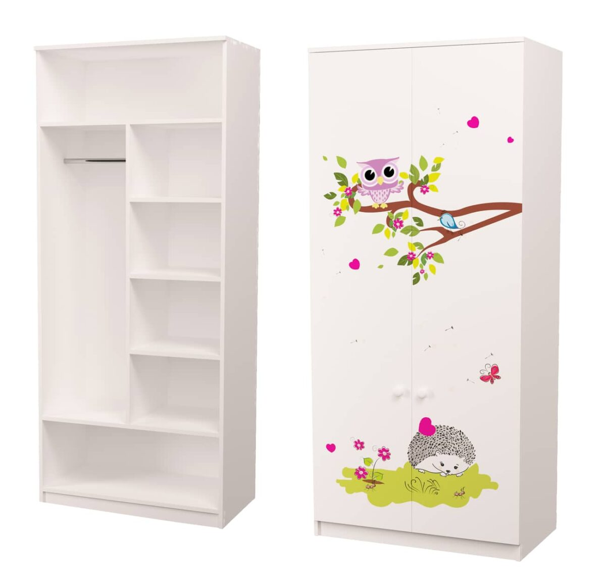 шкаф для детской с трубой и полками совушки