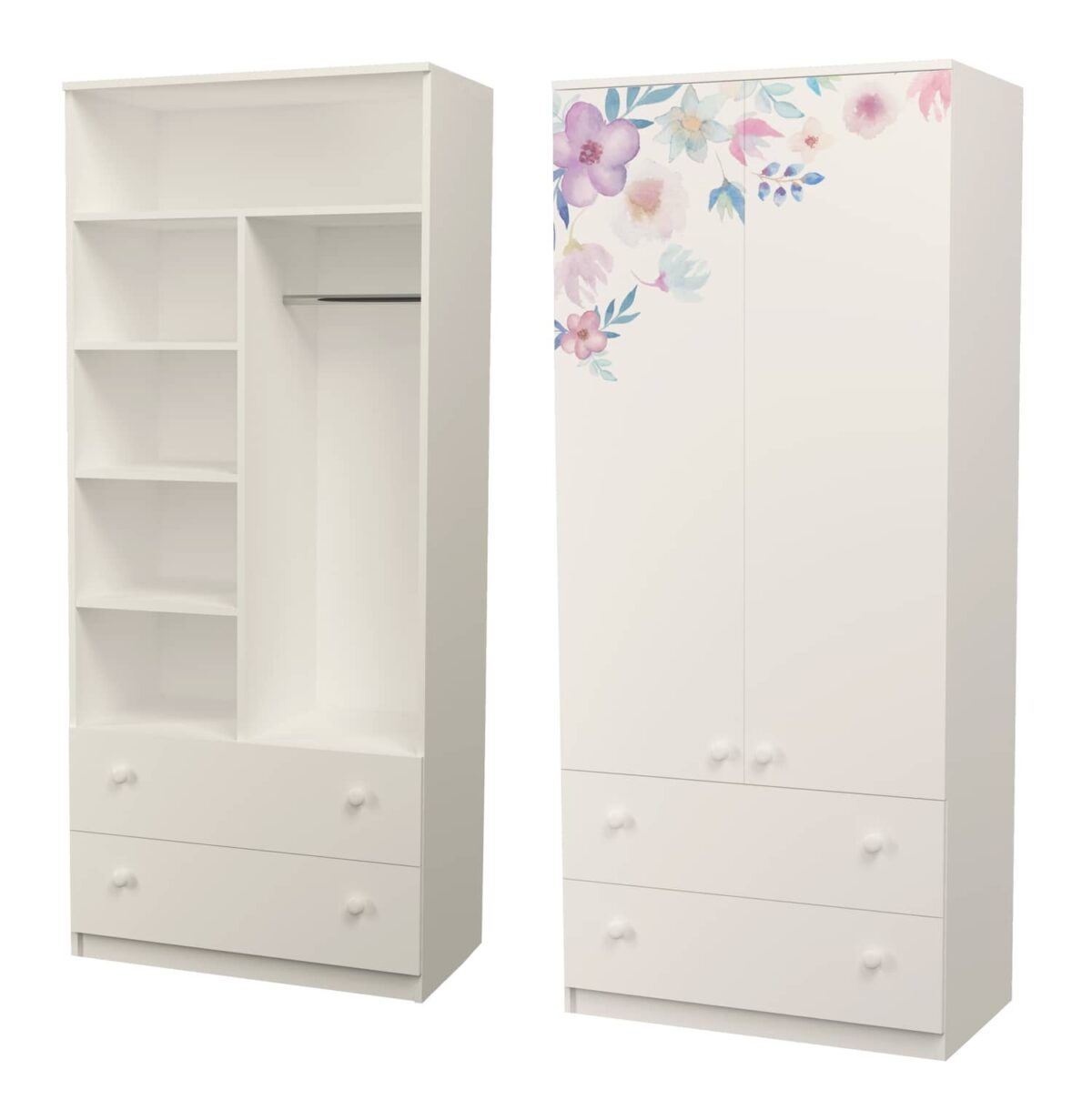 шкаф с полками и трубой цветы