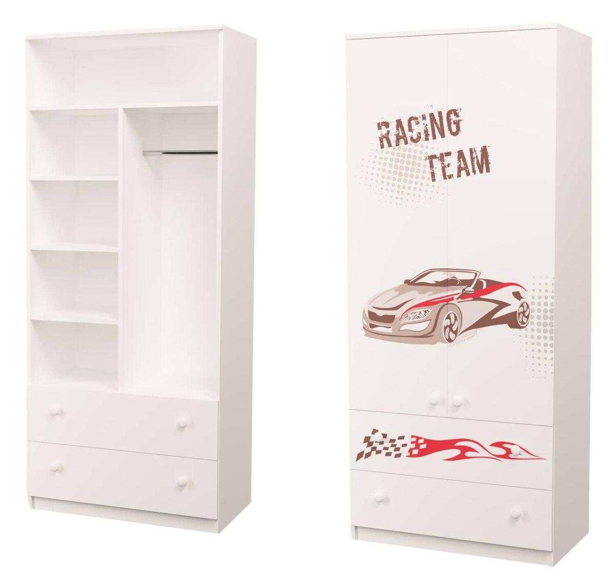 шкаф для мальчика гонщик с ящиками