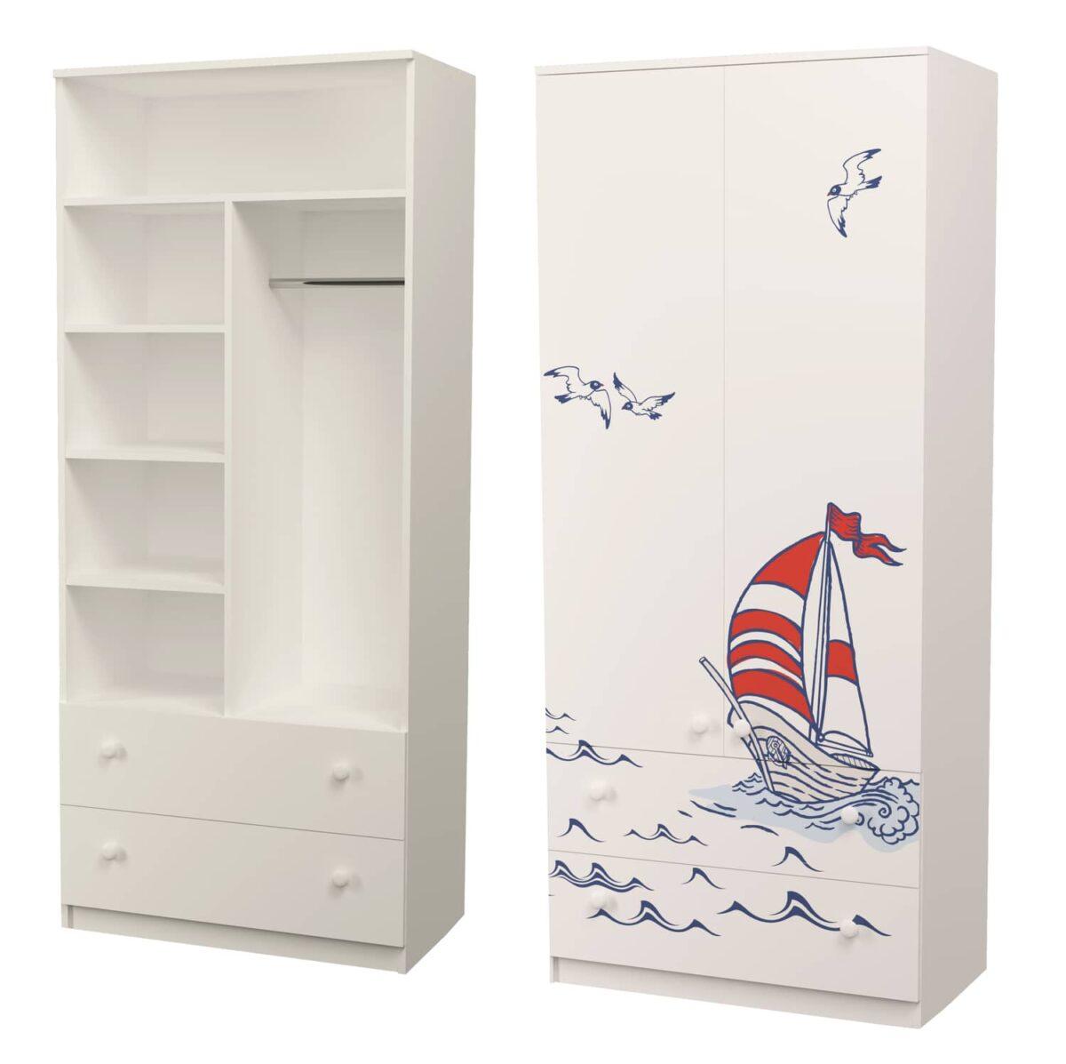 шкаф с полками и штангой для одежды кораблик