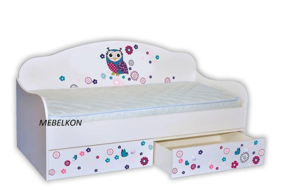 кровать сова с цветочками