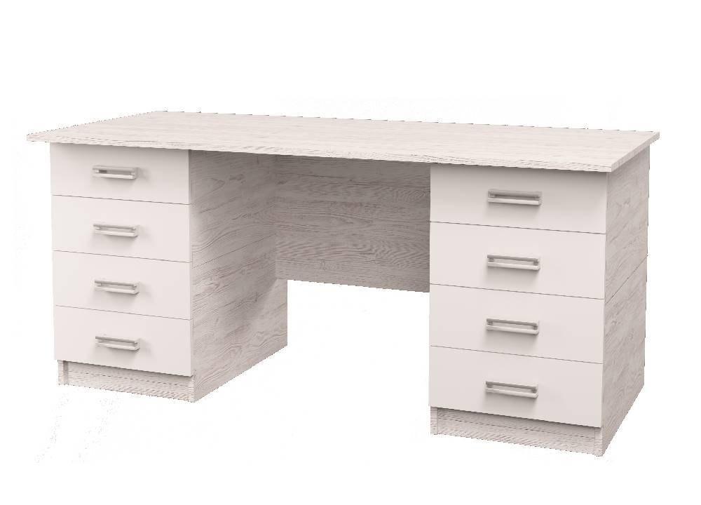 широкий стол на 8 ящиков аляска белый