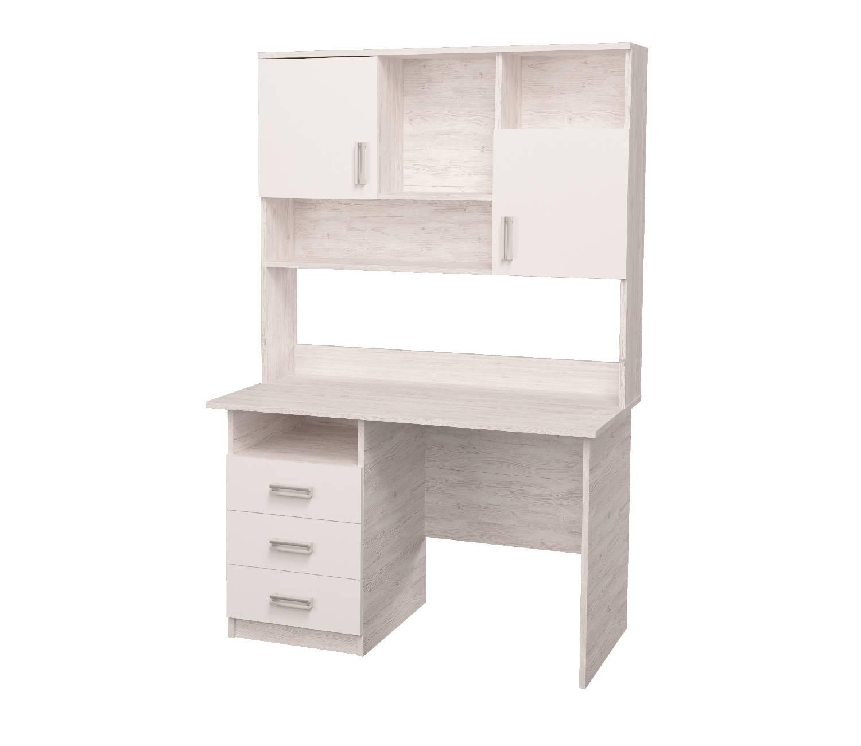 письменный стол с надстройкой стол с настройкой аляска белый