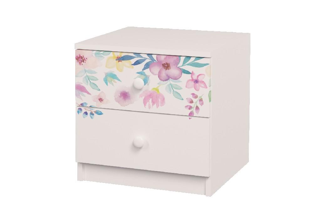 прикроватная тумба с ящиками цветы