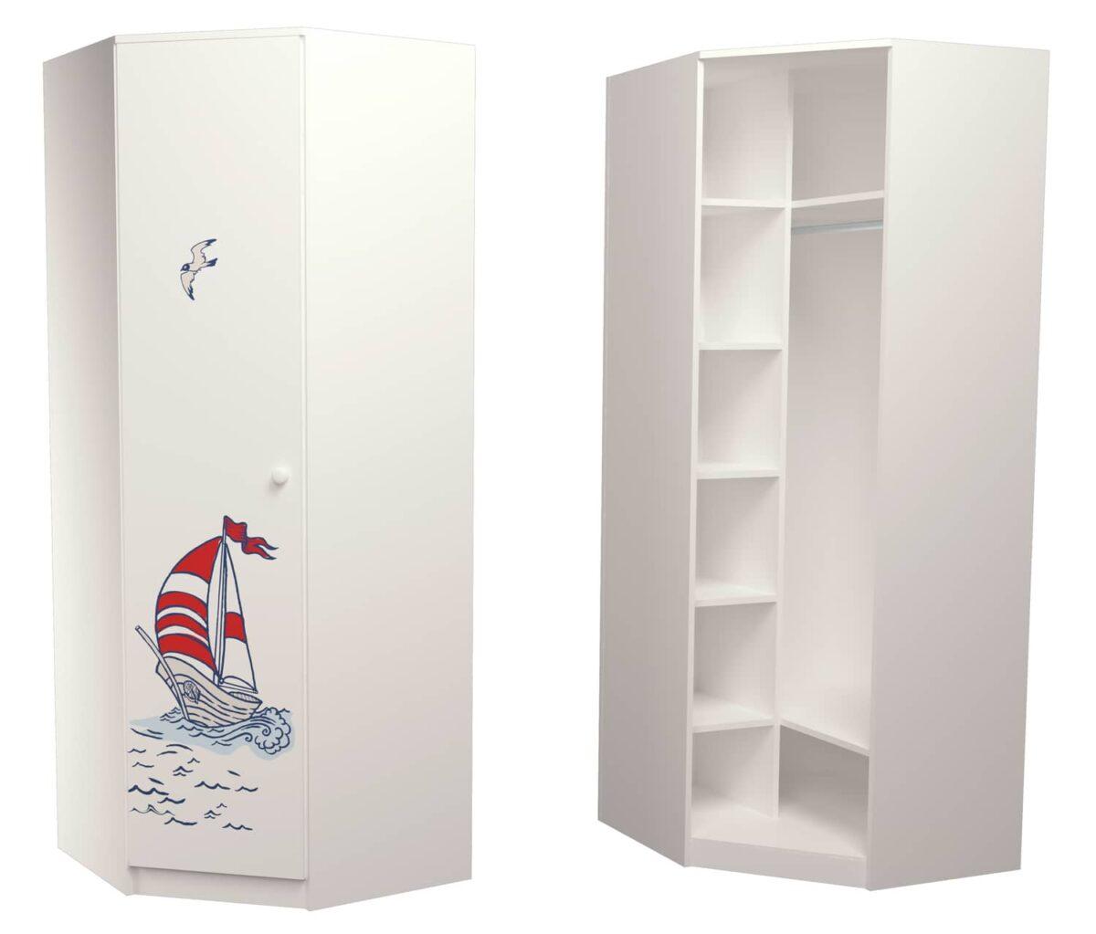 угловой шкаф в детскую кораблик