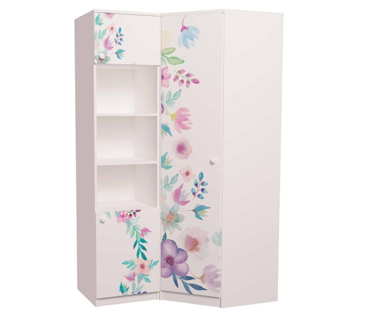 угловой шкаф с пеналом детский цветы