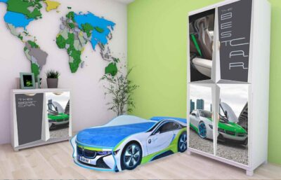 Дизайн детской комнаты с шкафом кроватью и комодом БМВ