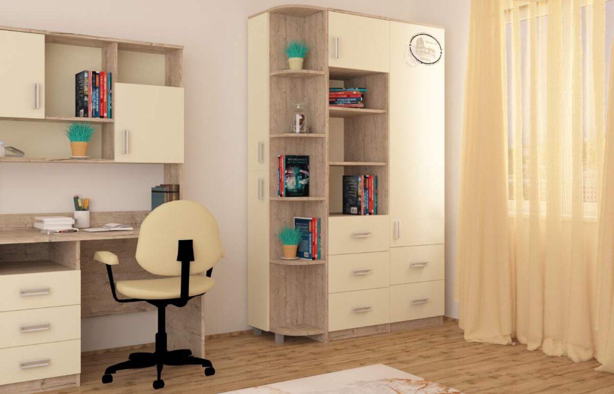 дизайн детской комнаты со столом и шкафом